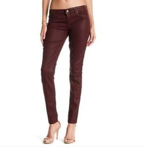 Level 99 NEW Burgundy Coated Skinny Jeans 28 Waist